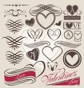 Vintage set of heart design elements retro calligraphy collection for wedding invitations vector love symbols for valentine Stock Image