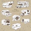 Vintage Set isolated Hand Drawn, doodle Camper trailer, car Recreation transport, Vehicles Camper Vans Caravans Icons Royalty Free Stock Photo