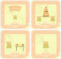 Vintage Set of kids menu Card Designs with chefs Stock Photography
