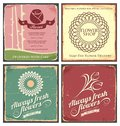 Vintage set of metal tin signs for flower shop Royalty Free Stock Photography