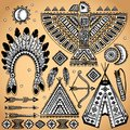 Vintage set of native American  symbols Royalty Free Stock Images