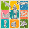 Vintage set of sea travel icons vector illustration eps Royalty Free Stock Photography