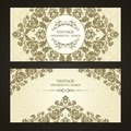 Vintage set of template ornamental borders and patterned background. Elegant lace wedding invitation design, Greeting Card, banner Royalty Free Stock Photo