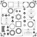 Vintage Set of Vector Horizontal. Square and Round Elements