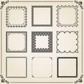Vintage Set of Vector Square Elements