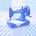 Vintage sewing machine patchwork background vector illustration Royalty Free Stock Images