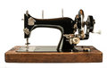 Vintage sewing machine white isolated Royalty Free Stock Image