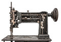 Vintage sewing machine white isolated Royalty Free Stock Photo