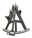 Vintage sextant isolated early navigation on white Stock Photo