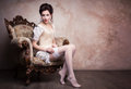 Vintage sexy young woman in corset Royalty Free Stock Photo