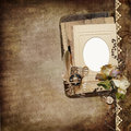 Vintage shabby background with frame faded roses old letters withered and retro decorative ornaments on Stock Images