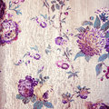 Vintage shabby chic beige wallpaper with violet floral victorian Royalty Free Stock Photo