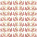 Vintage Shabby Pink Love Birds Pattern Background Royalty Free Stock Photo