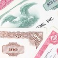 Vintage share certificates Royalty Free Stock Photo