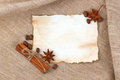 Vintage sheet paper with spice Stock Photo