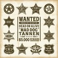 Vintage sheriff marshal and ranger badges set a of fully editable in woodcut style eps vector illustration Royalty Free Stock Photos