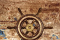 Vintage ship steering wheel rudder Royalty Free Stock Photo