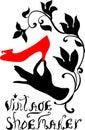 Vintage shoemaker silhouette vector illustration elegant symbol for shoemakes handmade style Stock Photography