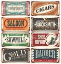 Vintage shop signs collection Royalty Free Stock Photo