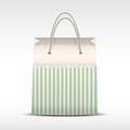 Vintage shopping bag in stripes texture vector paper on white background illustration of retro and sale Stock Image