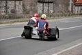 Vintage sidecar motorbike on empty street Stock Image