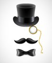 Vintage silhouette of top hat mustaches monocle and a bow tie vector illustration eps Stock Images