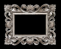Vintage silver baroque style picture frame isolated over black Royalty Free Stock Photo