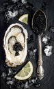 Vintage silver spoon with black sturgeon caviar and oyster on black slate stone background. Top view, flat lay, copy space. Royalty Free Stock Photo