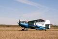 Vintage single engine biplane aircraft ready to take off Royalty Free Stock Photo