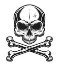 Vintage skull and crossbones monochrome template Royalty Free Stock Photo