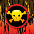 Vintage skull on flaming background vector retro grunge illustration Royalty Free Stock Photo