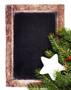Vintage slate chalk board with christmas ornaments isolated on w white background tree fir branch old blackboard frame Stock Photos