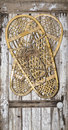 Vintage snow shoes on painted wood door the retro wooden outdoor snowshoe pair with rawhide lacing holds authentic leather Royalty Free Stock Photography