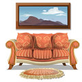Vintage sofa with soft rug and picture