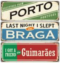 Vintage souvenir sign or postcard templates with Portugal cities