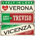 Vintage  souvenirs or postcard templates with places in Italy Royalty Free Stock Photo