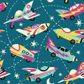 Vintage space cars seamless vector pattern on teal background.