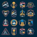 VIntage space colorful emblems set Royalty Free Stock Photo