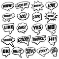 Vintage speech bubble with internet chat dialog words comic vector collection