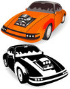 Vintage sport car detailed vector illustration of a colored and black and white version Royalty Free Stock Photo