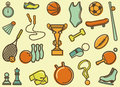 Vintage sports icons seamless background with symbols Royalty Free Stock Images