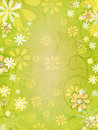 Vintage spring background with white and yellow flowers over green old paper gradient with curves Royalty Free Stock Images