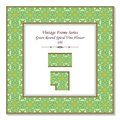 Vintage square 3D frame green curve spiral cross vine flower Royalty Free Stock Photo