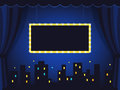 Vintage Stage with Dark Blue Curtains and Marquee Sign Royalty Free Stock Photo