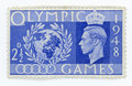Vintage stamp great britain olympic games historic postage celebrating the olymnpic that took place in london after the war Royalty Free Stock Photos
