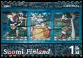 Vintage stamp printed in Finland 2005 show stained glass Royalty Free Stock Photo