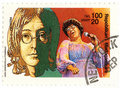 Vintage stamp with singers Royalty Free Stock Photo