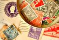 Vintage stamps on envelopes Royalty Free Stock Photos