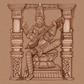 Vintage Statue of Indian Goddess Saraswati Sculpture Royalty Free Stock Photo