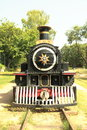 Vintage steam engine standing on track Stock Photo